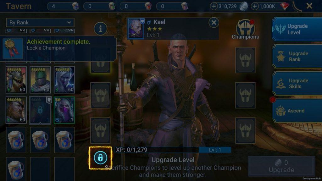 Raid Shadow Legends 1.15 lock and unlock from Champion Index
